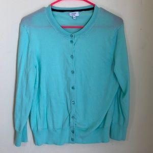 Crown & Ivy mint button up sweater size Large